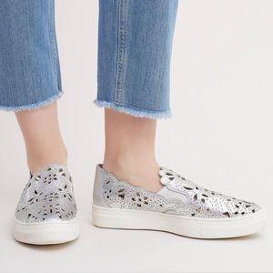 Laurel Silver Leather Laser Cut Espadrille Sneaker